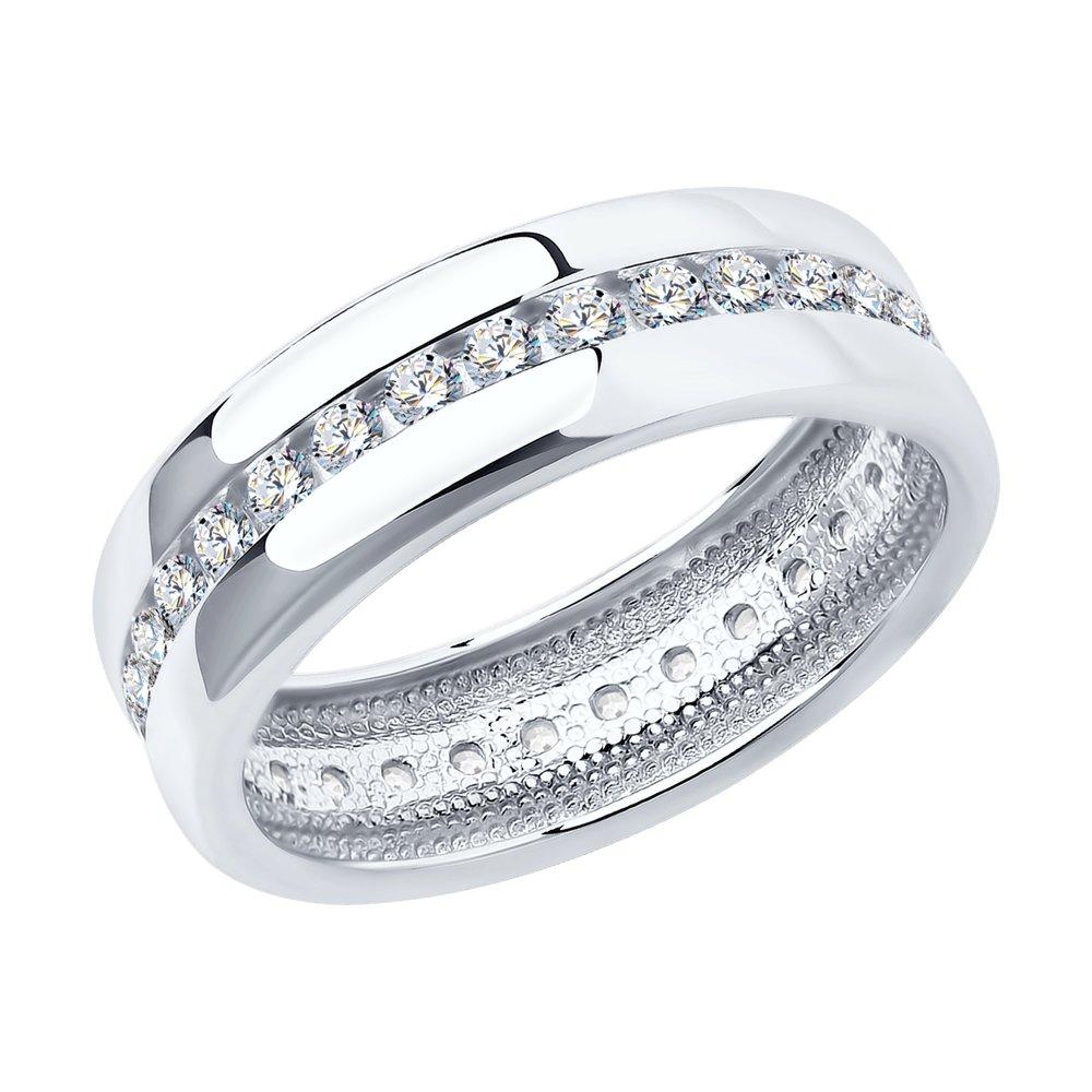 Обручальное кольцо из серебра с фианитами арт кс-431