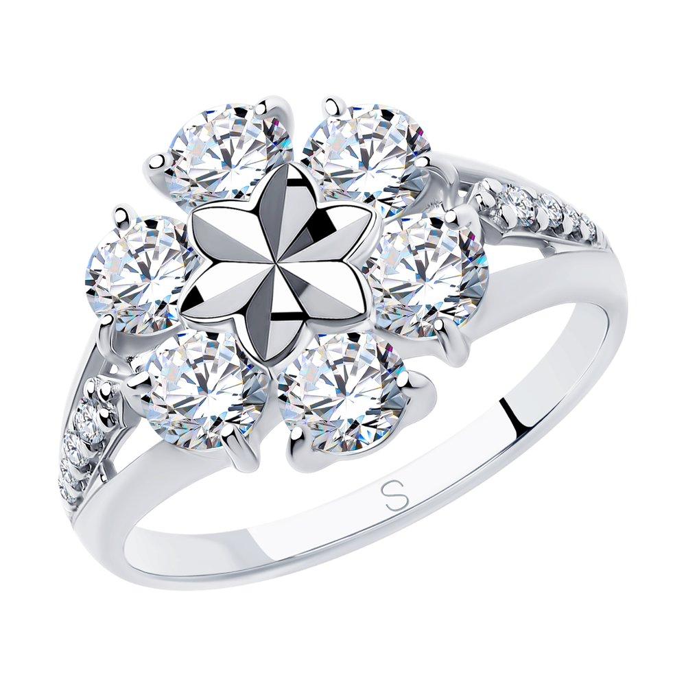 Кольцо из серебра с алмазной гранью с фианитами SOKOLOV Арт КС-434