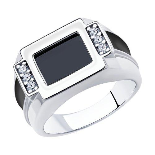 Кольцо из серебра с эмалью и фианитами арт кс-448