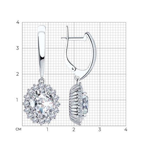 Серьги из серебра с фианитами арт сс-309