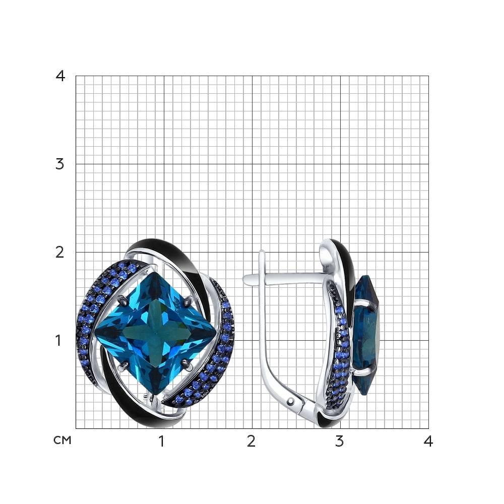 Серьги из серебра с эмалью с синими ситаллами и синими фианитами арт сс-328