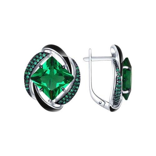 Серьги из серебра с эмалью с зелеными ситаллами и зелеными фианитами SOKOLOV Арт СС-327