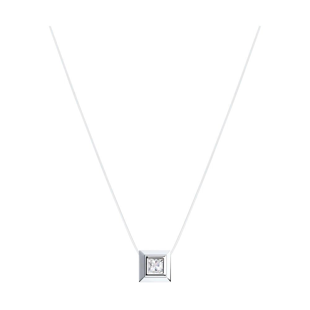 Колье на леске из серебра с фианитом арт цс-111