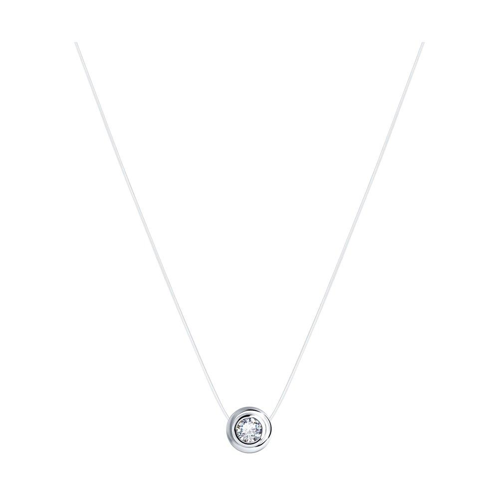 Колье на леске из серебра с фианитом арт цс-115