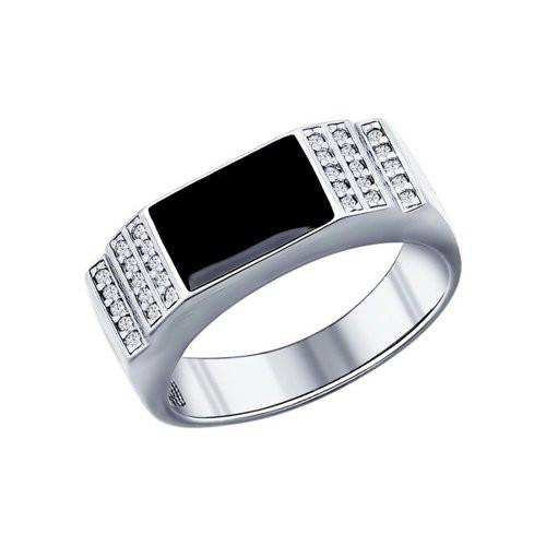 Кольцо из серебра с эмалью и фианитами арт кс-457