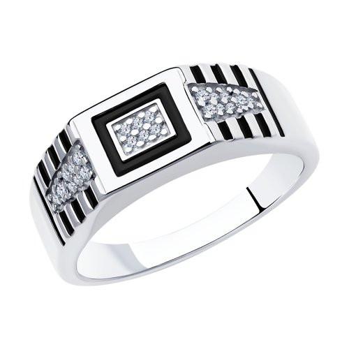 Кольцо из серебра с эмалью и фианитами арт кс-446
