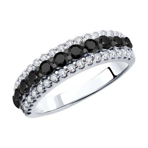 Кольцо из серебра с чёрными фианитами кс-469