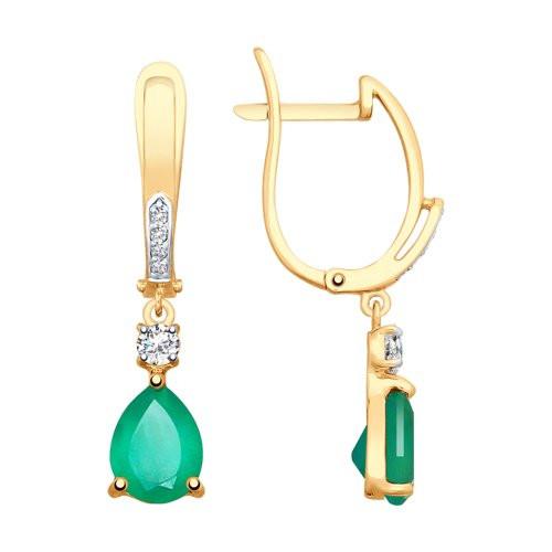 Золотые серьги с зелёными агатами  арт с-1357