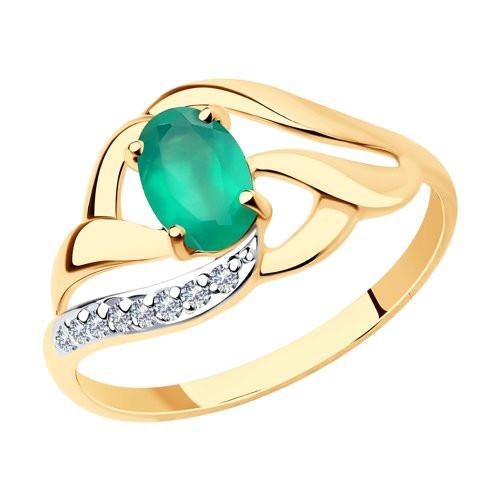 Кольцо из золота с зелёным агатом арт к-1861