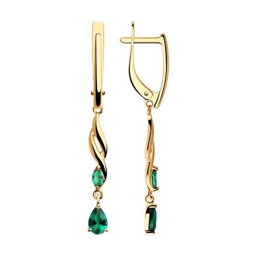 Золотые серьги с зелёными фианитами  арт с-1353