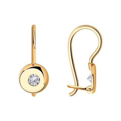 Золотые серьги с фианитом арт с-1719