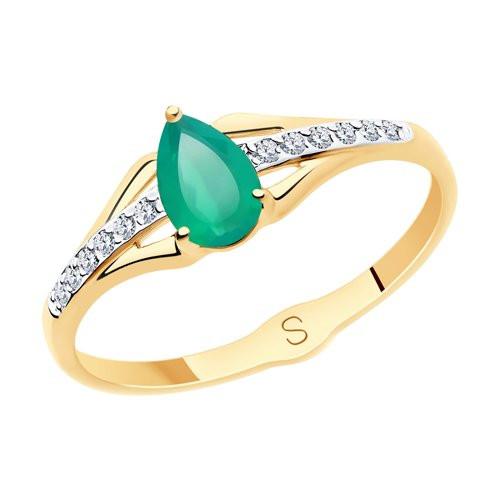 Кольцо из золота с зелёным агатом арт к-2053