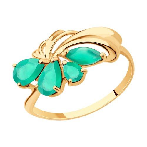 Кольцо из золота с зелёным агатом арт к-2056