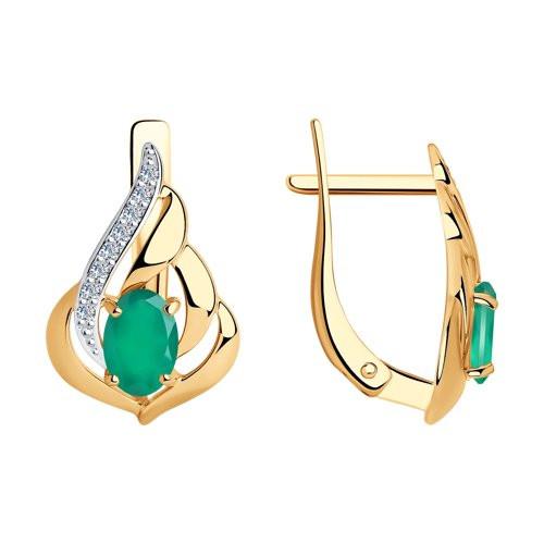 Золотые серьги с зелёным агатом арт с-1804