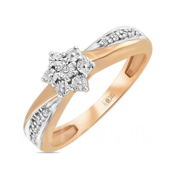 Золотое кольцо с бриллиантами  арт лбк-087