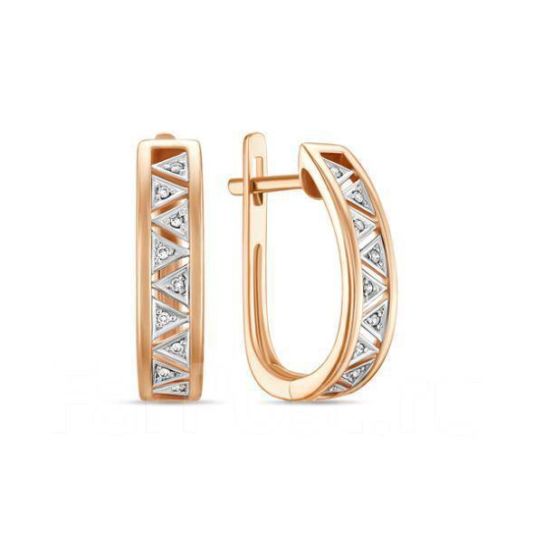 Золотые серьги с бриллиантами арт лбс-067