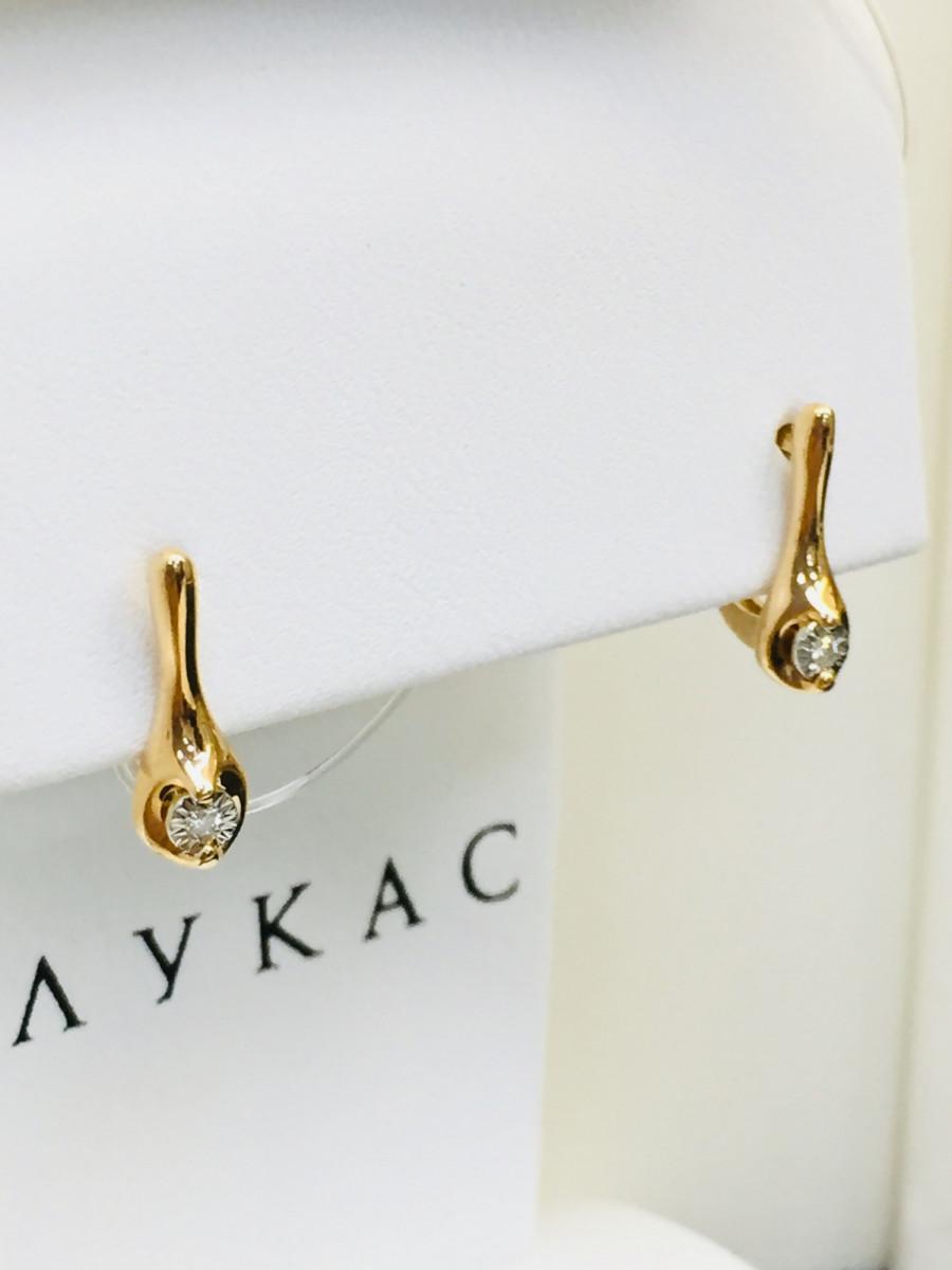 Золотые серьги с бриллиантами арт лбс-072