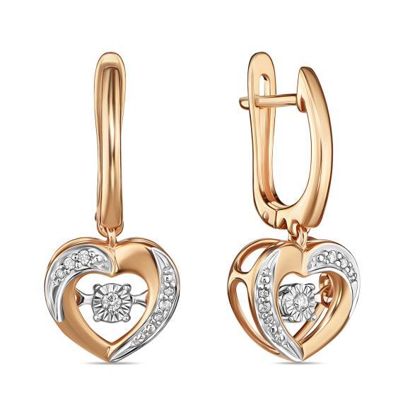 Золотые серьги с бриллиантами арт лбс-073