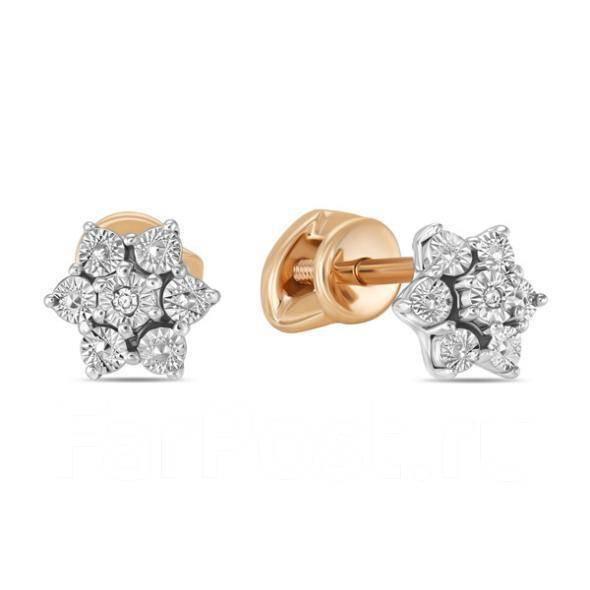 Золотые серьги с бриллиантами арт лбс-091