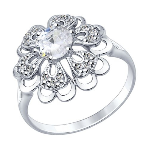 Кольцо из серебра с горным хрусталем и фианитами SOKOLOV Арт 169