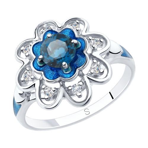 Кольцо из серебра с эмалью и синим топазом и фианитами SOKOLOV Арт 201