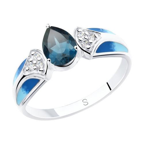 Кольцо из серебра с эмалью и синим топазом и фианитами SOKOLOV Арт 223