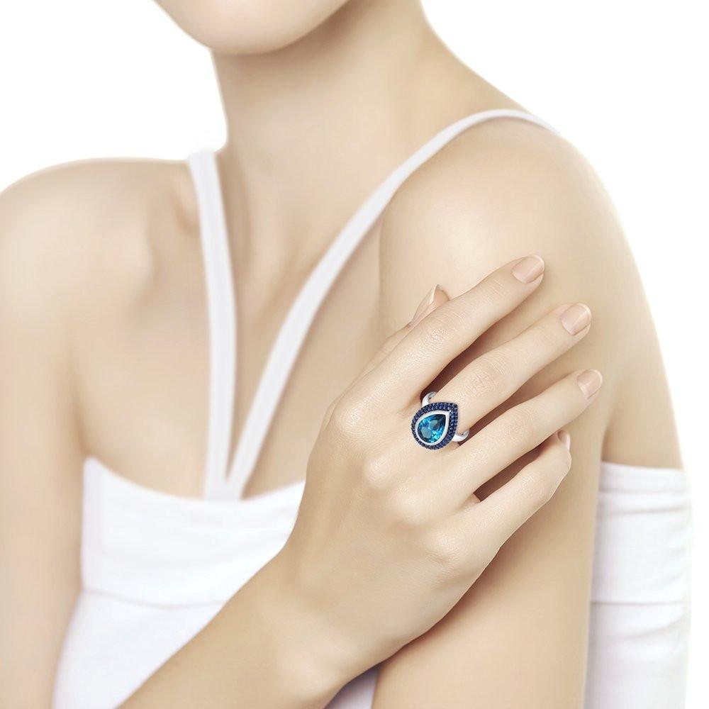 Кольцо из серебра с ситаллом и фианитами SOKOLOV Арт 207
