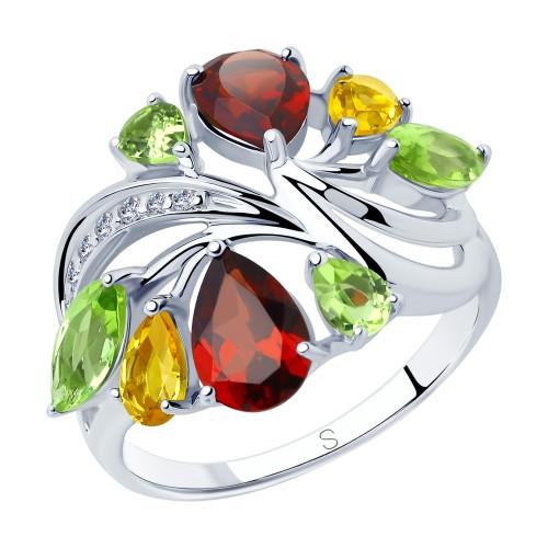 Кольцо из серебра с миксом камней SOKOLOV Арт 156