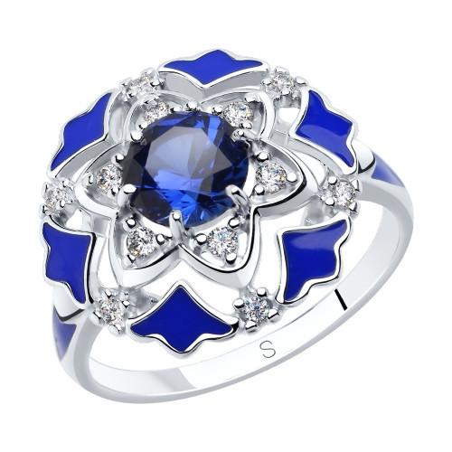 Кольцо из серебра с эмалью и синими корундами и фианитами SOKOLOV Арт 200