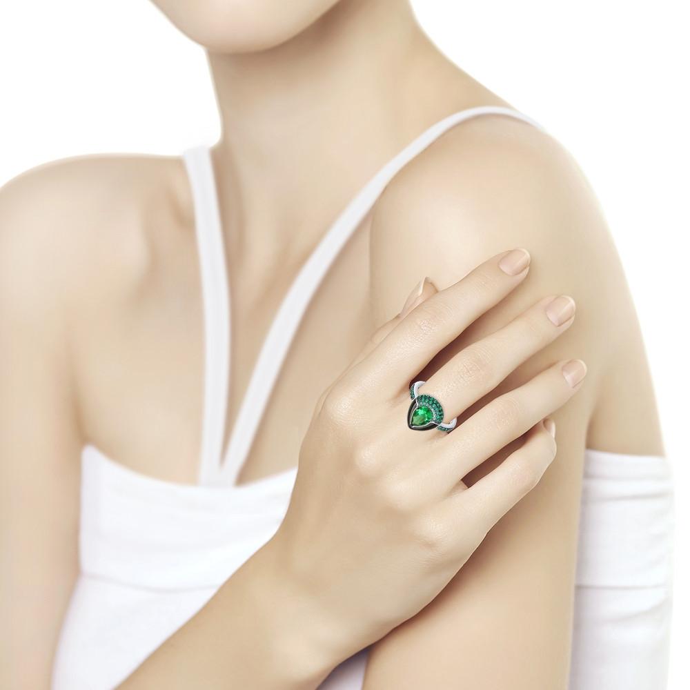 Кольцо из серебра с эмалью и зелёным ситаллом и фианитами SOKOLOV Арт 209