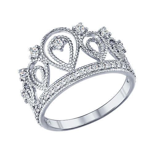 Кольцо «Корона» из серебра с фианитами SOKOLOV Арт 069