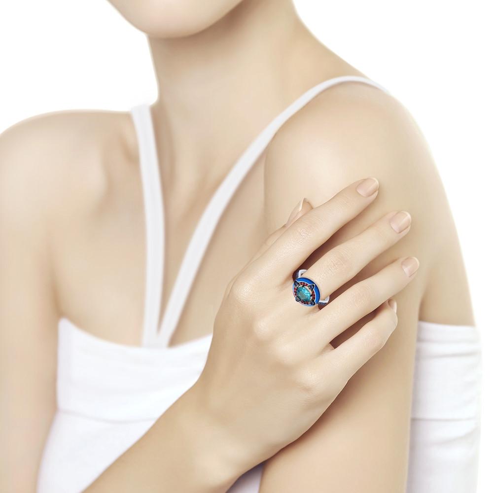 Кольцо из серебра с эмалью с синим ситаллом и красными и синими фианитами SOKOLOV Арт 093