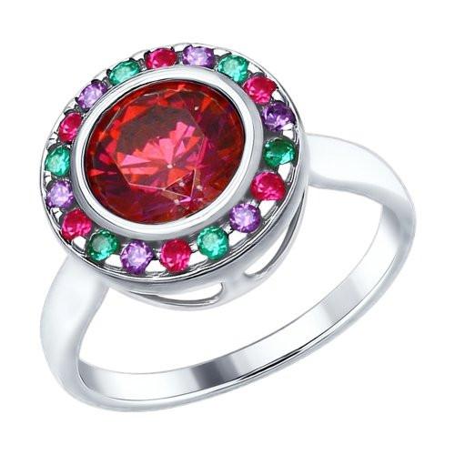 Кольцо из серебра с красным Swarovski Zirconia и фианитами SOKOLOV Арт 174