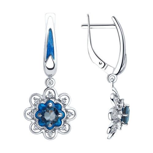 Серьги из серебра с эмалью и синими топазами и фианитами SOKOLOV Арт 044