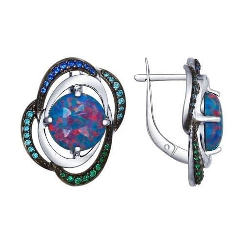 Серьги из серебра с синими опалами и зелеными и синими фианитами SOKOLOV Арт 058