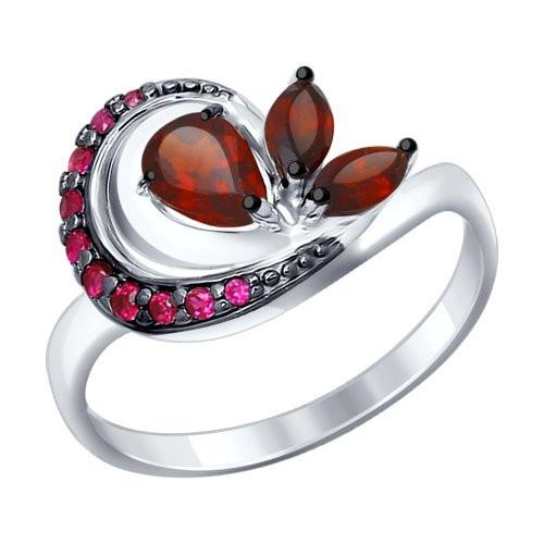 Кольцо из серебра с гранатами и красными фианитами SOKOLOV Арт 001