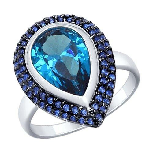 Кольцо из серебра с синим ситаллом и синими фианитами SOKOLOV Арт 007