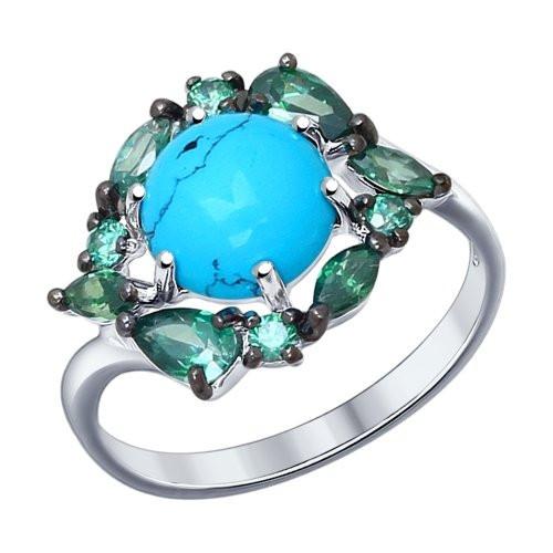 Кольцо из серебра с бирюзой (синт.) и зелеными фианитами SOKOLOV Арт 008