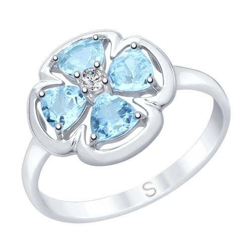 Кольцо из серебра с топазами и фианитом SOKOLOV Арт 021