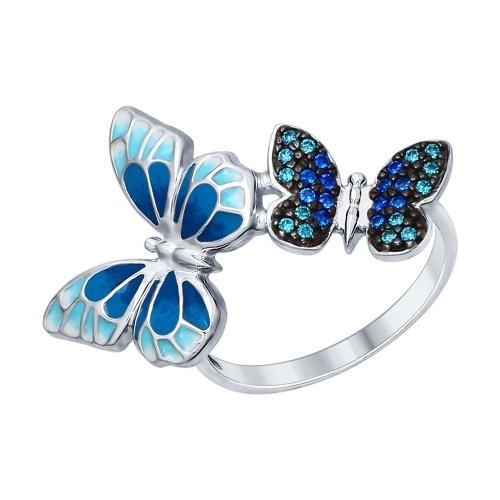 Серебряное кольцо «Бабочки» SOKOLOV Арт 028