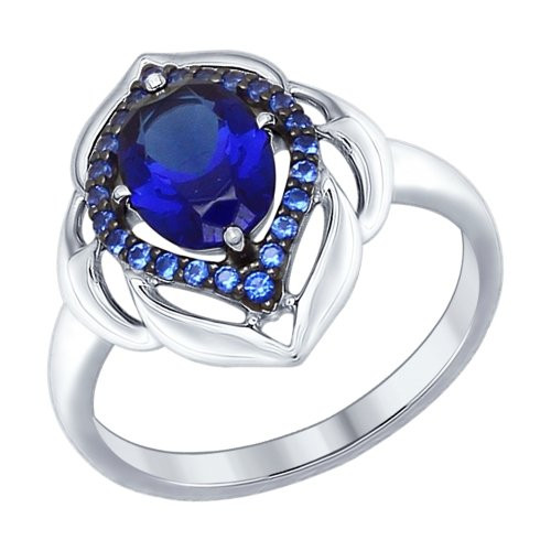 Кольцо из серебра с корундом сапфировым (синт.) и синими фианитами SOKOLOV Арт 215