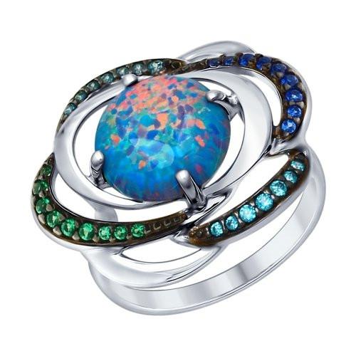 Кольцо из серебра с синим опалом и зелеными и синими фианитами SOKOLOV Арт 090