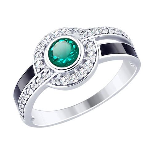 Кольцо из серебра с эмалью и зелёным ситаллом и фианитами SOKOLOV Арт 226