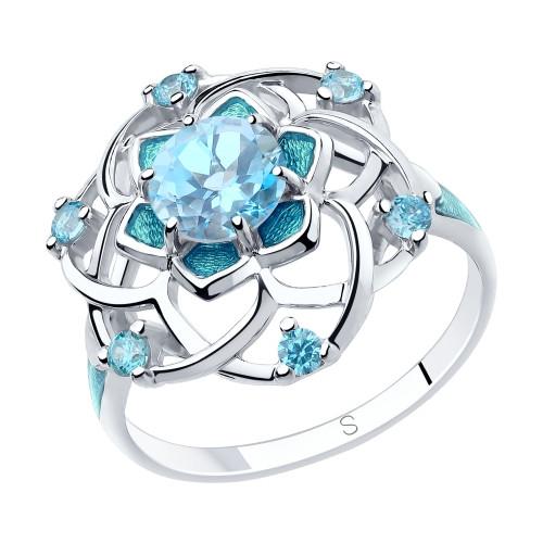 Кольцо из серебра с эмалью и топазом и фианитами SOKOLOV Арт 194