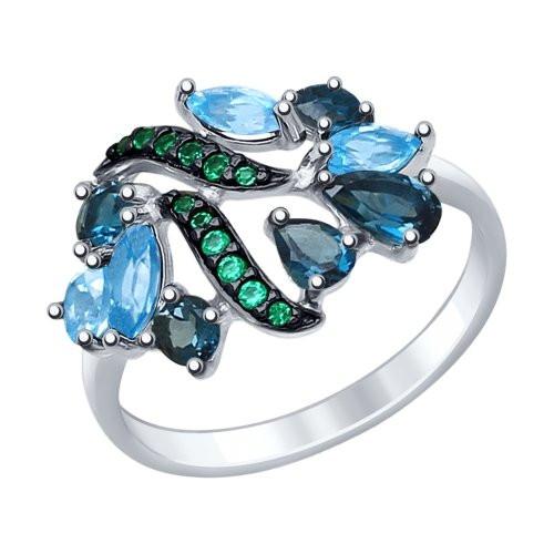 Кольцо из серебра с голубыми и синими топазами и зелеными фианитами SOKOLOV Арт 185