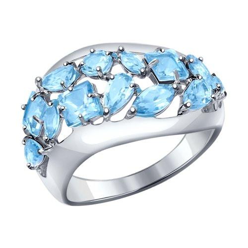 Кольцо из серебра с голубыми топазами SOKOLOV Арт 147
