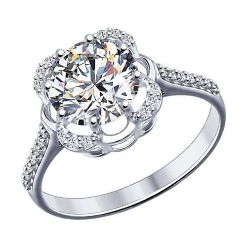Кольцо из серебра с фианитами SOKOLOV Арт 086