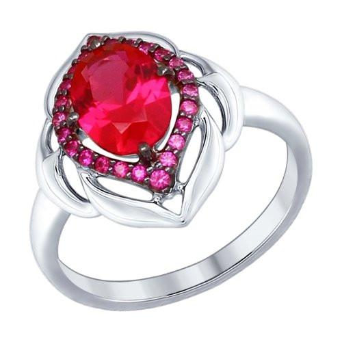 Кольцо из серебра с корундом рубиновым (синт.) и красными фианитами SOKOLOV Арт 149