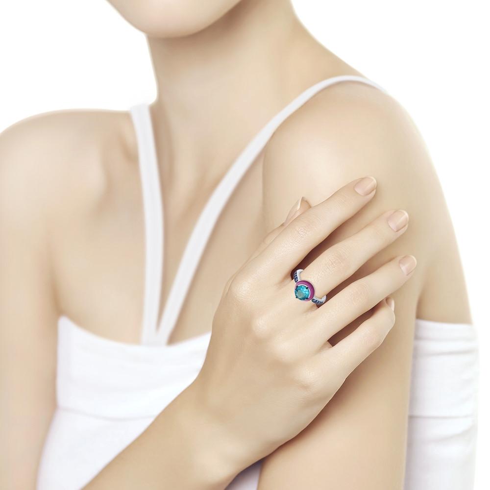 Кольцо из серебра с эмалью с синим ситаллом и синими фианитами SOKOLOV Арт 092