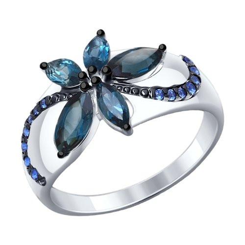 Кольцо из серебра с топазами и синими фианитами SOKOLOV Арт 217